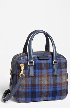 MARC BY MARC JACOBS 'Clover' Satchel | Nordstrom - A beautiful little tartan bag. Casually structured. This will give you a burgundy and blue fix for the season.