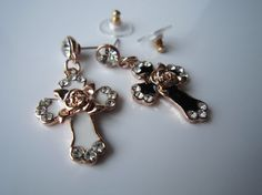 DiamondRose Gold Rose Rose Gold Cross by HappyLaurajewelry on Etsy, $15.30