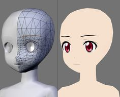 triangulated 3d anime face red eyes