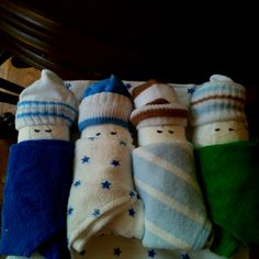 Thanks to pinterest ;) diaper, washcloth and sock!