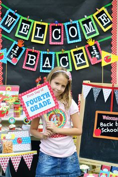 """Fourth Grade Freebies         - 2"""" Party circles for cupcake toppers   - 2.5"""" Polka dot background circles   - 4 Pennants for centerpiece picks   - Chalkboard """"Back to School"""" tags   - Chalkboard """"Snack time"""" tags   - Food/School Supply labels - fold over   - """"Welcome Back"""" tags   - """"Welcome Back"""" fold over treat bag toppers   - Polka dot water bottle wraps   - Apple and bookworm cut-outs   - """"Welcome Back"""" banner   - Signs for first day of school photos: Pre-K through 6th grade Back To School Party, Welcome Back To School, School Parties, Back To School Night, 1st Day Of School, Beginning Of The School Year, School Fun, School Classroom, Classroom Banner"""