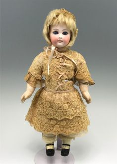 "Antique Belton Bisque 13.5"" Doll - Cloth & Compo Body, Spiral Eyes, Closed Mouth 