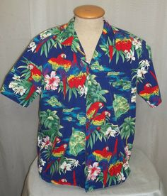 cbf30448 Vintage Royal Creations Hawaiian Shirt Large XL Hawaii Mens Parrot Macaw  Orchid