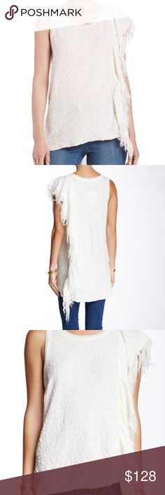 """Free People treat me tender tank - Scoop neck - Sleeveless on one side - 1 short sleeves - Frayed trim Jacquard knit construction - Approx. 30"""" shortest length, 38"""" longest length - No trades Free People Tops Tank Tops"""