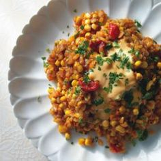 Baked Rice with Roasted Corn, Peppers & Onions Recipe