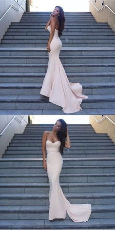 Gorgeous Mermaid Long Strapless Evening Dress Prom Dress Bridesmaid Dress with Train - Thumbnail 2 Backless Prom Dresses, Mermaid Prom Dresses, Cheap Prom Dresses, Sexy Dresses, Bridesmaid Dresses, Bridesmaids, Event Dresses, Formal Evening Dresses, Evening Gowns