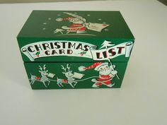vintage metal Christmas List card box by RogueMercantile on Etsy, $14.00