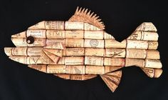 Fish wall hanging made from recycled corks by CorkCreationsbyK, $35.00