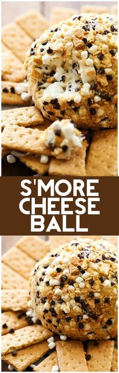 S'more Cheese Ball - Chef in Training S'more Cheese Ball. Marshmallows, chocolate and graham crackers combine to make one delicious sweet cheese ball. It is everything you love about s'mores wrapped up into on tasty dessert appetizer! Yummy Treats, Sweet Treats, Yummy Food, Graham Crackers, Dessert Dips, Dessert Recipes, Dessert Cheese Ball, Smores Dessert, Appetizer Dessert