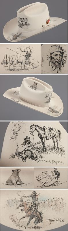 "Rex Allen's Bailey 20x Celebrity Artist Hat. Made especially for the Charlie Russell Riders. The top side of the brim features a bronc rider by John Hampton (with paint), a bull elk by Joe Ferrara, and an Indian child by R. Brownell McGrew. The crown has a singing cowboy with his horse by Duane Bryers, a cowboy caricature by Jimmy Cox, a bear by Michael Coleman and an Indian chief in headdress by Harley Brown. Size 7 3/8"", 20X Silverbelly by Bailey."