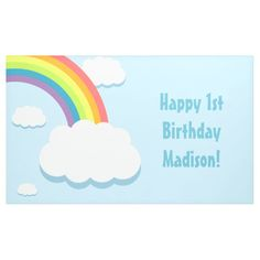 Shop Rainbow Cloud Birthday Banner created by CustomizedStuff. Simple First Birthday, First Birthday Gifts, 1st Boy Birthday, Happy Birthday Banners, Birthday Decorations, Birthday Ideas, Rainbow Cloud, Happy 1st Birthdays, Outdoor Banners