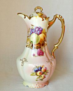 Antique Bavarian Chocolate Pot China Royal Munich Milles Z S Co Zeh And Fruit Teapot Fl