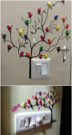 Diy Paintings for Home Decor Make these Cute Pistachio Shell Birds – Buzztmz Wall Painting Decor, Diy Wall Art, Home Decor Wall Art, Diy Wall Decor, Diy Painting, Tree Wall Art, Diy Crafts Hacks, Diy Home Crafts, Diy Arts And Crafts