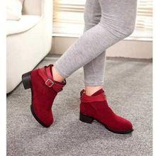 Grande vente féminin dames plate - forme plate bout rond courtes bottes à la mode métal boucle cheville solide bottes filles mode chaussures(China (Mainland))