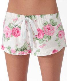 scalloped floral pj shorts