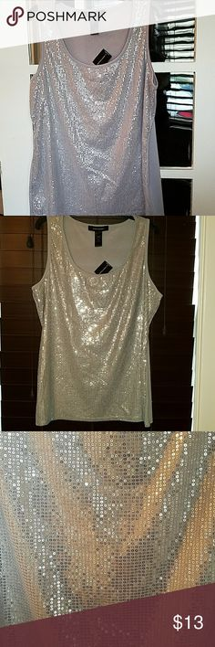 Silver Sequin tank Brans new, Ashley Stuart silver sequin tank Size 18/20 Made of t-shirt like material Ashley Stewart Tops Tank Tops
