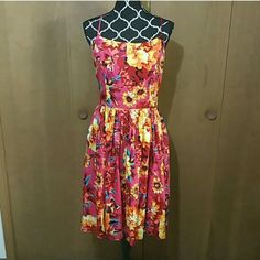 Multicolored floral dress Beautiful floral dress; pink, red, yellow and turquoise. Spaghetti straps. 100% cotton. Isaac Mizrahi Dresses