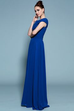 Deep Royal Blue Mother Of Bride Bridesmaid Cap Sleeve Ruching Dress - beautiful!