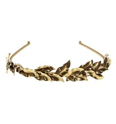 Eos Headband - Bridal A remarkably easy-to-wear crown of petite metal leaves that are handcrafted to curve around a comfy gold ribbon-wrapped headband. #Bridaltribe