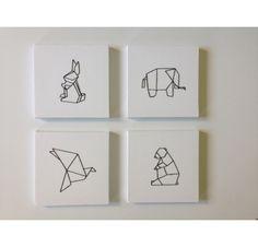 Tuto: Making an origami embroidered painting, by Caro Diy Tumblr, Masking Tape, Washi Tape, Diy Tableau, Origami Design, Grafik Design, Geometric Art, String Art, Diy Art