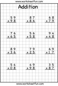 Addition regrouping worksheets - 2, 3 & 4 digits