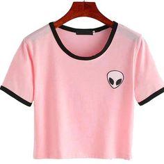 Lisingtool Women's Print Aliens Crop Top Blouse Short Sleeve T Shirt Tops (S…