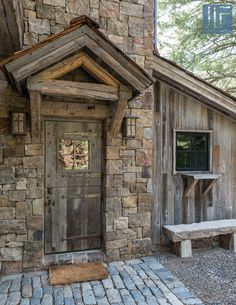 JLF Architects – Real Rustic Entrance – rustic home exterior Stone Cottages, Cabins And Cottages, Stone Houses, Modern Cabin Interior, Stone Cabin, Rustic Houses Exterior, Outdoor Stone, Rustic Stone, Rustic Home Design