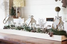 Great Christmas decor and decorating ideas from Thrifty and Chic's Lanterns found at Home Depot $ Mason jars with votives and epsom salt
