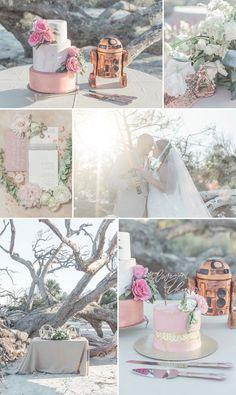 A Rose Gold Star Wars Wedding Inspiration #starwarswedding #rosegoldstarwarswedding #starwarsinspiredwedding #driftwoodbeachwedding #starwarsweddingcake #beachweddingideas #disneyweddingideas