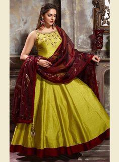 Light Green Banglori Silk Readymade Long Anarkali Suit 115878