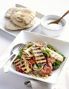 Roasted tomato, halloumi and quinoa salad