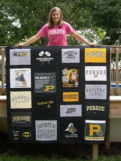 A really cute T-shirt quilt made by Marcy Lendaro -- marcyjane: Purdue t-shirt quilts