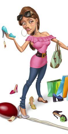 Female Character Illustration - Shopping Girl