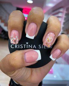 Cute Acrylic Nail Designs, Short Nail Designs, Cute Acrylic Nails, Nail Art Designs, Love Nails, Pretty Nails, My Nails, Bling Nails, Swag Nails