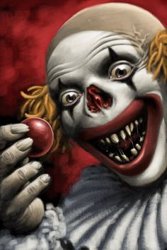 Evil Clown~~~ neat idea for makeup---pull off nose to scare. similar to having a cute clown face pull off mask to show scary face! Clown Film, Gruseliger Clown, Joker Clown, Clown Nose, Clown Faces, Circus Clown, Creepy Clown, Scary Faces, Arte Horror