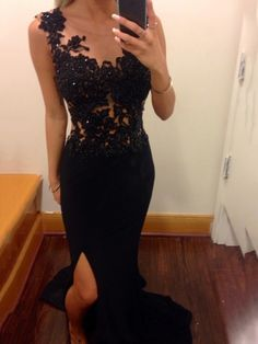 2015 mermaid black prom dress with lace beaded chiffon slit prom gown,Gorgeous prom photo from Loving this black lace prom dress Mermaid Prom Dresses Lace, Black Prom Dresses, Lace Evening Dresses, Cheap Prom Dresses, Simple Dresses, Homecoming Dresses, Pretty Dresses, Evening Gowns, Dress Black