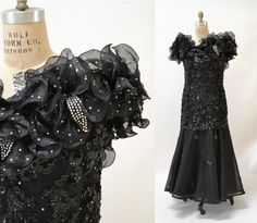 088f85102fa 80s Vintage Black Sequin Evening Gown SIze by Hookedonhoney Vintage Evening  Gowns