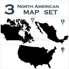 Conjunto de países de América del norte Ilustración De Stock