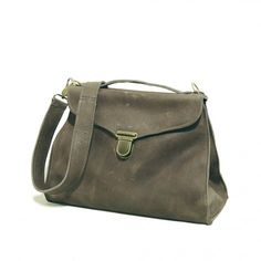 (This is absolutely perfect. Ladylike shape in slouchy leather--how could it not be?) Madame Moss Grey satchel/messenger bag from Boticca