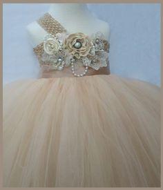 flower girl dress   Champagne flower girl tutu by Jillybeantutus, $85.00