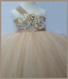 fleur fille robe Champagne demoiselle tutu robe par Jillybeantutus, $85,00