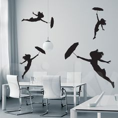 Wall Sticker FLYING UMBRELLAS by Sticky!!!