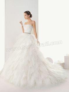 Floor Length Shirring Chiffon Skirt Strapless Ball Gown Wedding Dress