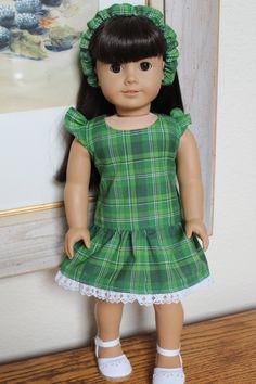 Green Plaid Dress and headband by Sariahsdollcloset