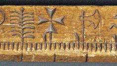"""Section of a Clog Almanac Here is a close view of an old Norwegian """"primstav"""" with marks for each week notched into the narrow edge of th. Clogs, Image, Clog Sandals"""