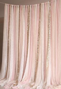 Pink white Lace fabric Gold Sparkle photobooth backdrop #babynurserydecor