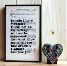 Mr Darcy love quote framed book art print