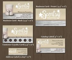 Rustic style Scentsy Business cards, frequent buyer cards, catalogue labels and address labels.