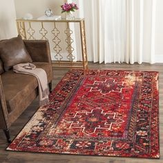 Safavieh Vintage Hamadan Red / Multicolored Rug (4' x 6') - Free Shipping Today - Overstock.com - 19460017 - Mobile