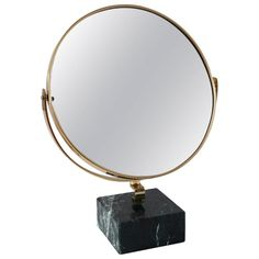 """Gio Ponti Vanity Mirror """"Fontana Arte"""" on Green Marble Block, 1955   From a unique collection of antique and modern table mirrors at https://www.1stdibs.com/furniture/mirrors/table-mirrors/"""